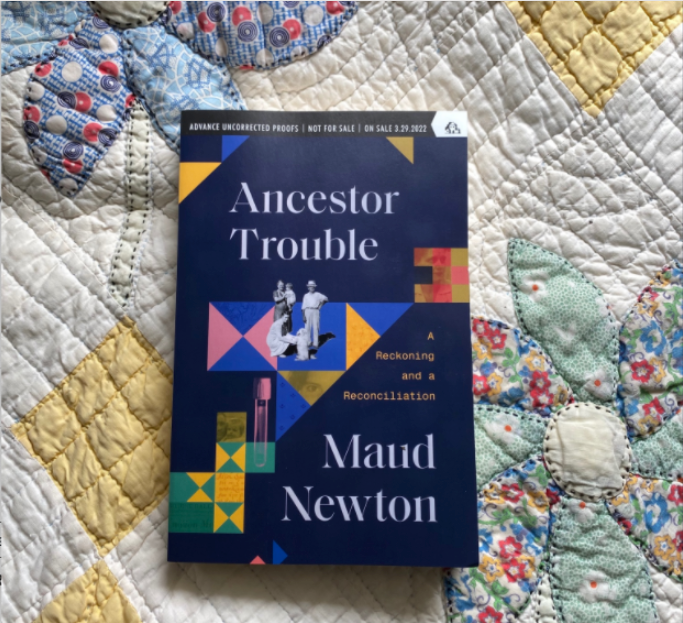 A galley of my book, Ancestor Trouble, on one of my granny's quilts