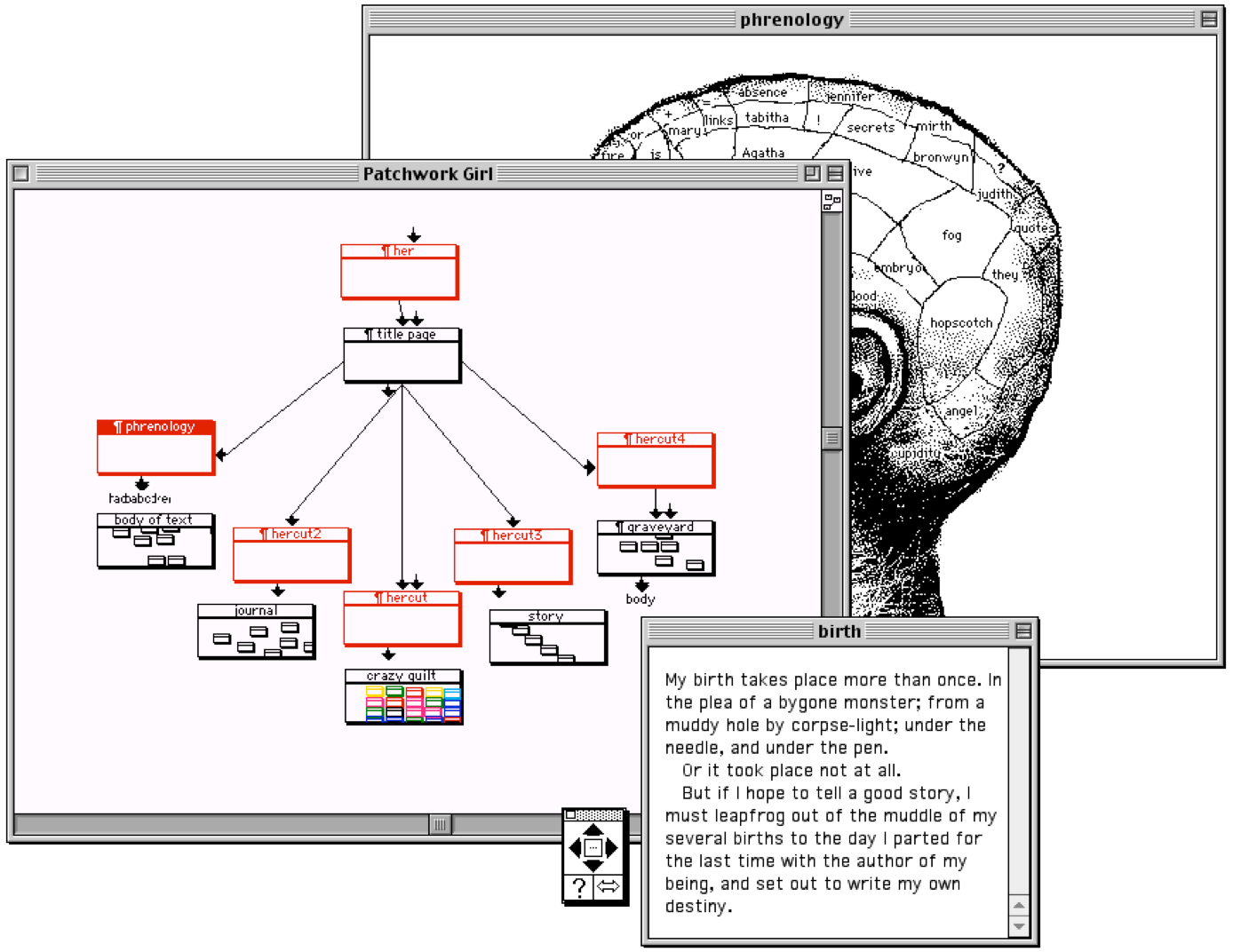 """Three Mac Classic windows. One is labeled """"phrenology"""" and contains a black-and-white image of a human head with labelled sections. The second is labelled """"Patchwork Girl"""" and shows an interlinked map of colored nodes. The third is labelled """"birth"""" and features a passage of text beginning """"My birth takes place more than once."""""""