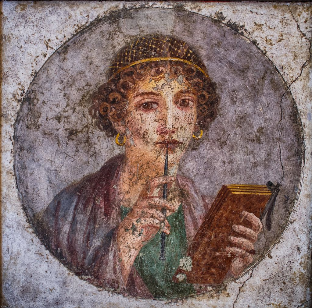 """""""Portrait of a young woman from Pompeii (so-called 'Sappho')"""" by Peer.Gynt is marked with CC PDM 1.0"""