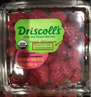 carton of raspberries, labeled in both english and french