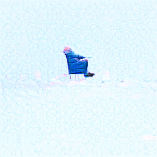 Off in the distance among snowlike white is a bald whitehaired man sitting in a chair with his hands on his lap. It might plausibly be the famous Bernie with Mittens meme but sideways, but it's a bit hard to tell because it's so small and far away.