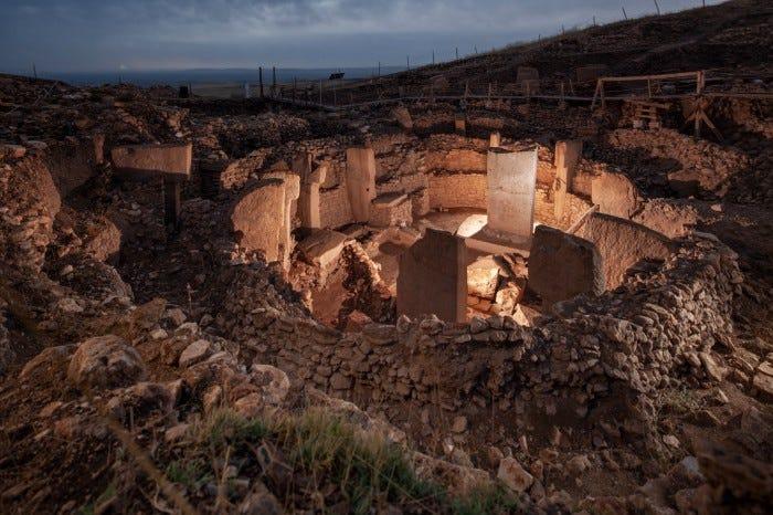 Pillars and sunken steps make up the ruins of the Göbekli Tepe archaeological site, Turkey.