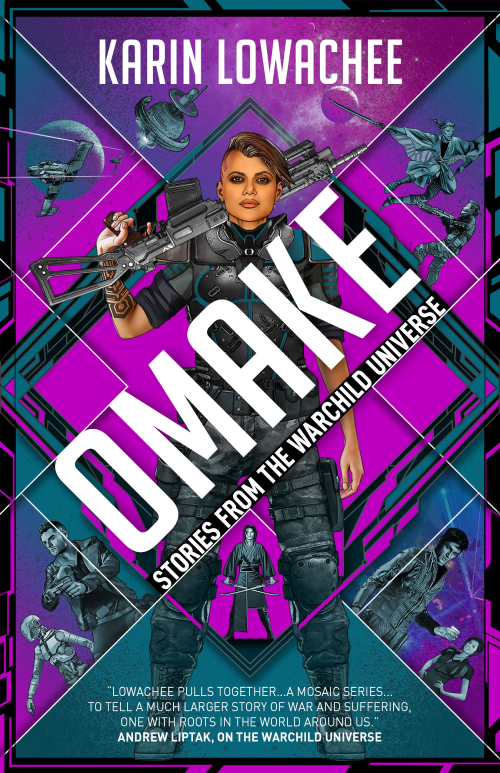 Book cover, Omake by Karin Lowachee. A person stands in the middle of a purple background, holding a gun over their shoulder.