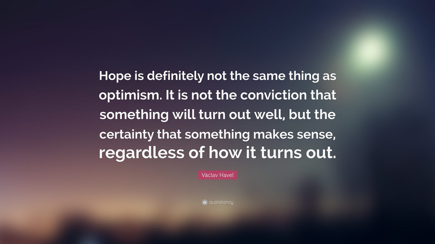 Image result for vaclav havel on hope