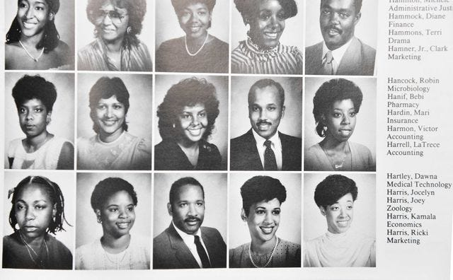 vice president kamala harris pictured in howard university's 1986 yearbook