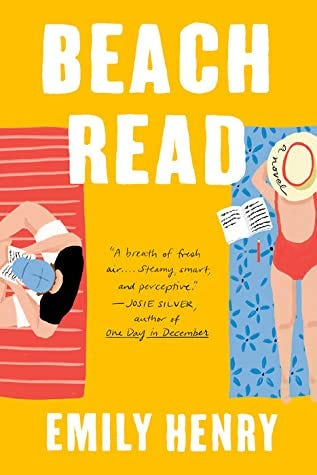 The cover of Beach Read by Emily Henry features two people on beach towels, side by side, a big apart, not looking at each other. They have partially-written manuscripts beside them.