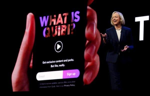 Meg Whitman, the chief executive of Quibi. The email addresses of users of the service were made available to Google, Facebook, Twitter and Snapchat, a study said.