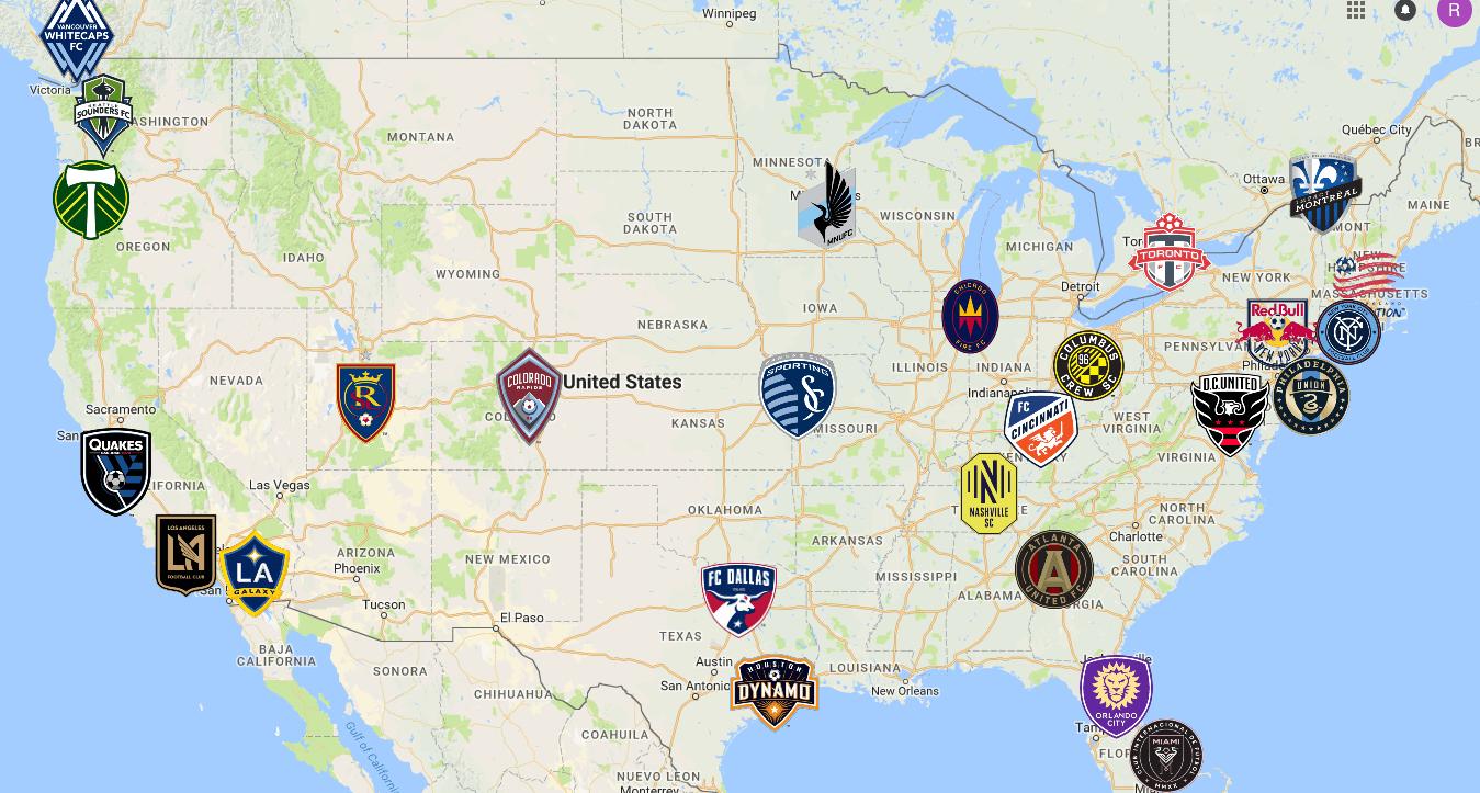 MLS Map | Teams | Logos - Sport League Maps : Maps of Sports Leagues