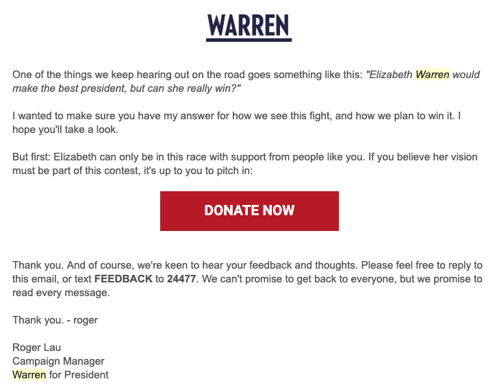 On March 27, Sen. Elizabeth Warren's campaign emailed supporters about the electability issue.