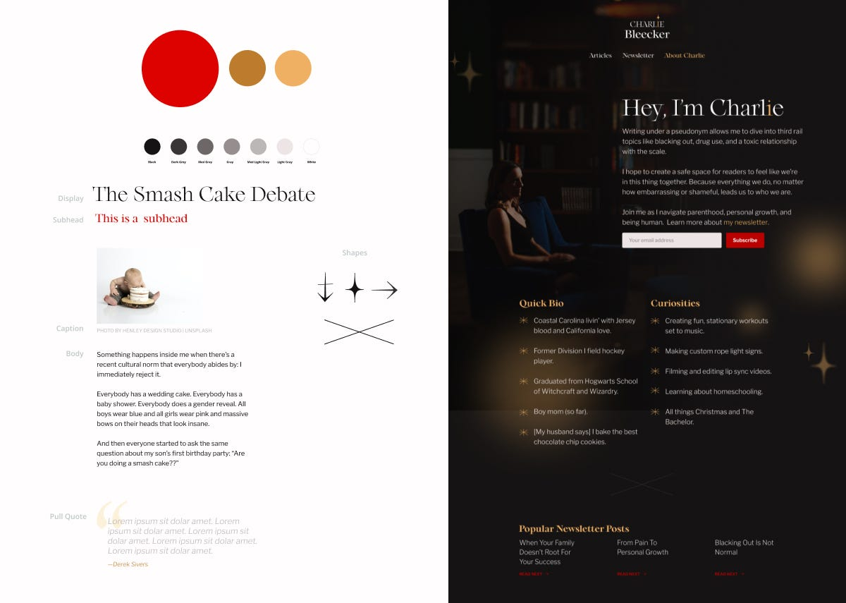 A design kit consisting of type, shapes, and colors