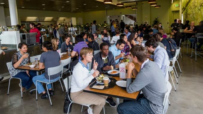 The Google campus in Mountain View includes over 20 dining options that encourage a communal experience with group tables.