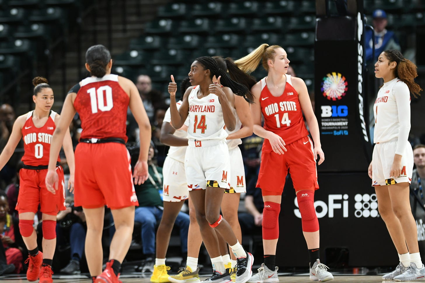 Maryland basketball player Diamond Miller gives two thumbs up during a game against Ohio State.