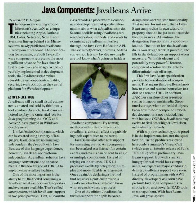 Java Components: JavaBeans arrive