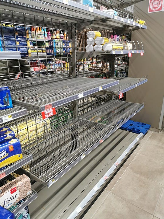 Shelves, Empty, Hamster Buying, Sold Out, Business