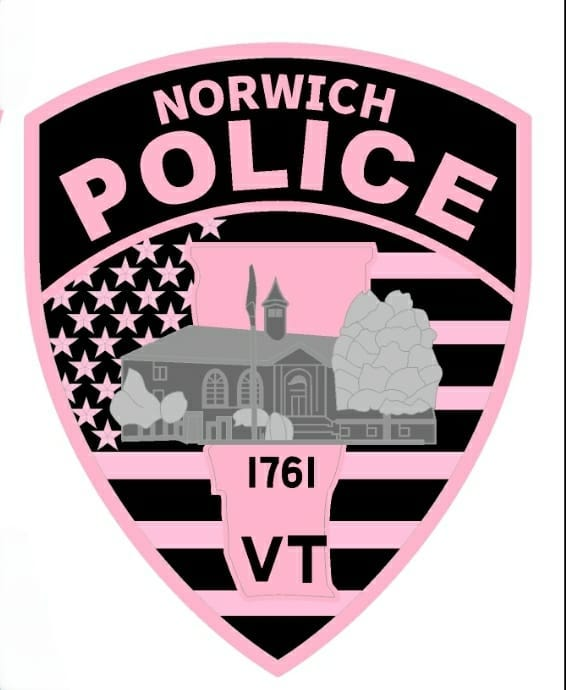 Image may contain: text that says 'NORWICH POLICE 1761 VT'