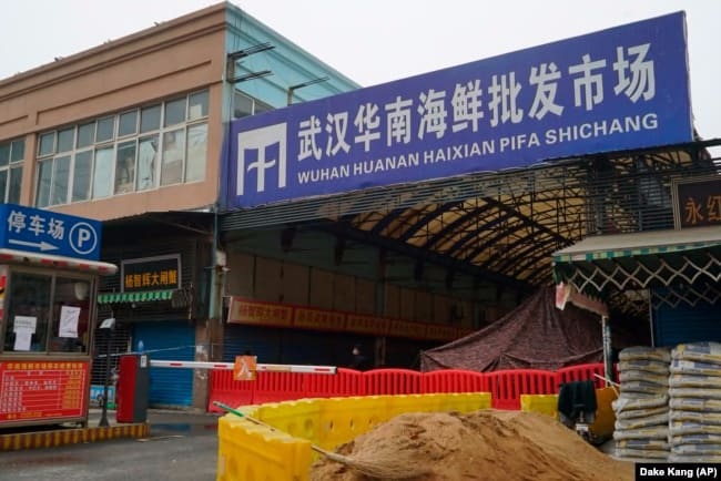 The Wuhan Huanan Wholesale Seafood Market, where a number of people fell ill with COVID-19 at the onset of the pandemic, sits closed in Wuhan, China on Jan, 21, 2020.