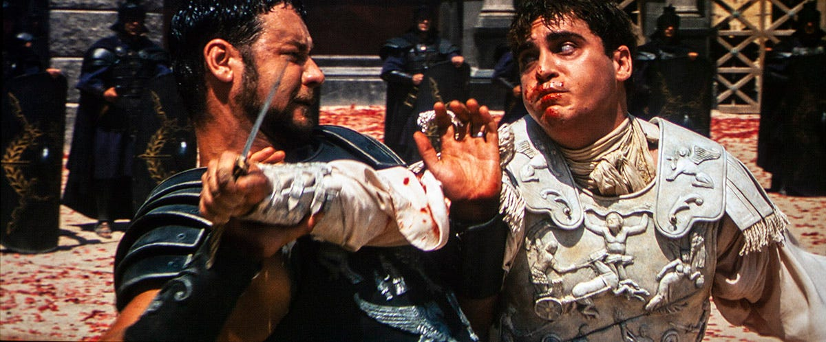 Mortally wounded, Maximus fights Commodus to the death in the Coliseum.