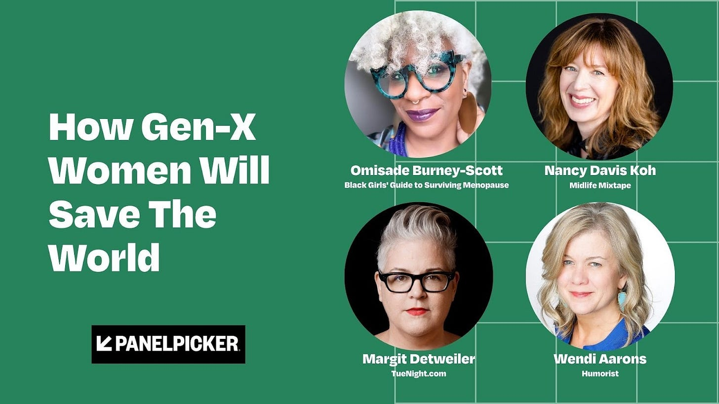 How Gex-X Women Will Save The Word promo with headshots of Omisade Burney-Scott, Margit Detweiler, Wendi Aarons, and Nancy David Koh