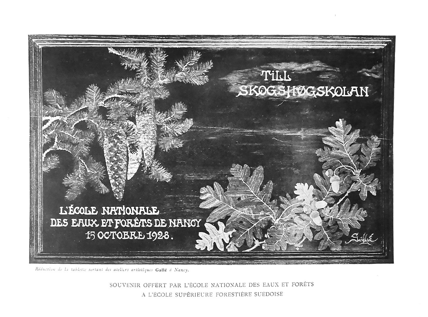 Auguste Herbst, Oak and spruce tray signed with the Mk IX, gift from the École nationale des eaux et forêts to their Swedish counterpart, 15/10/1928 (private collection).
