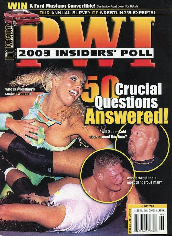 June 2003 issue of Pro Wrestling Illustrated, featuring the 2003 Insiders' Poll