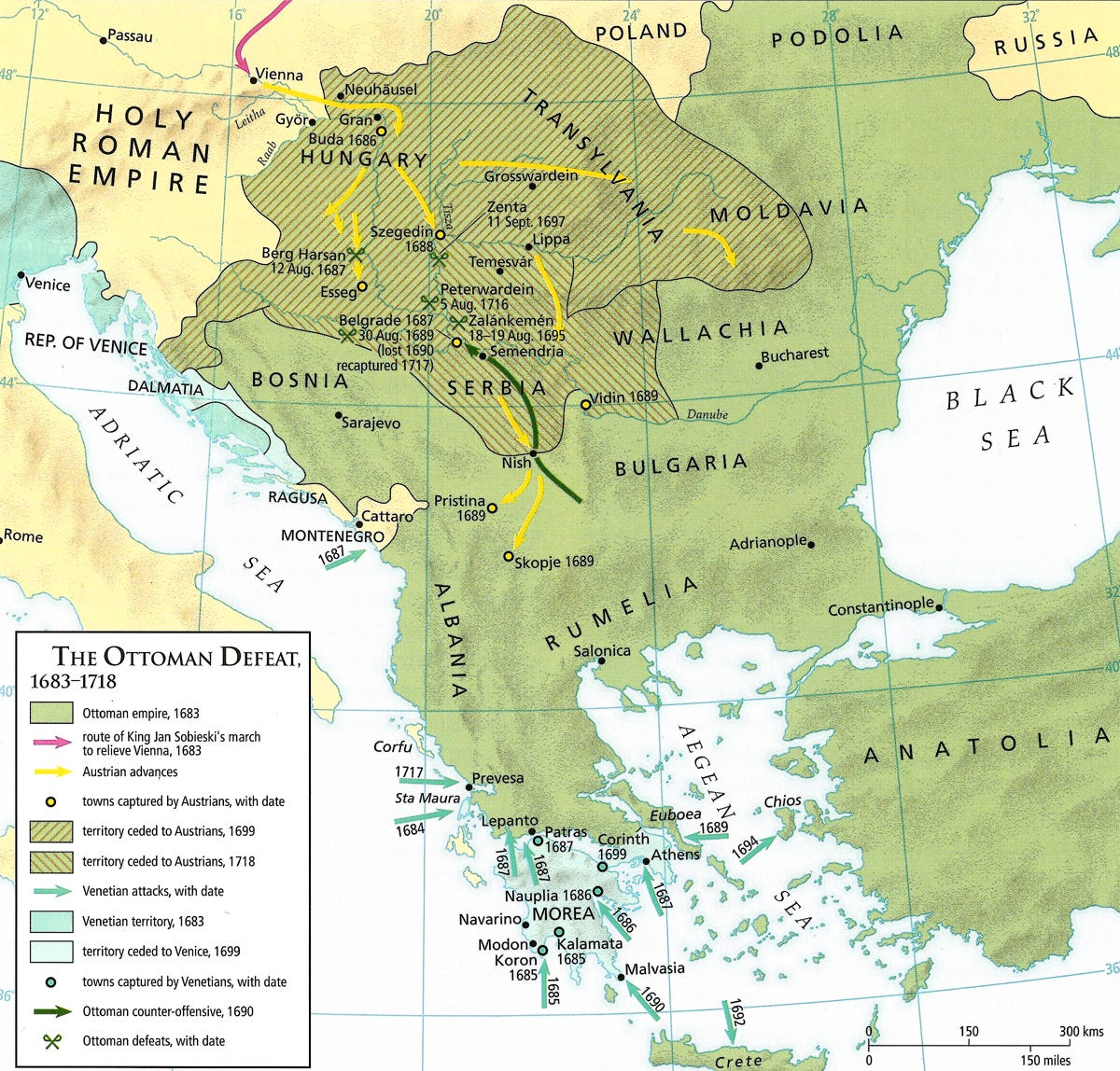 Map - Ottoman Defeat 1683-1718