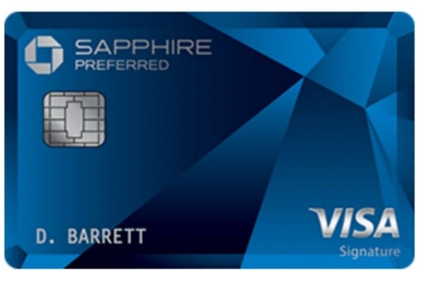 A front view of the Chase Sapphire Preferred credit card.