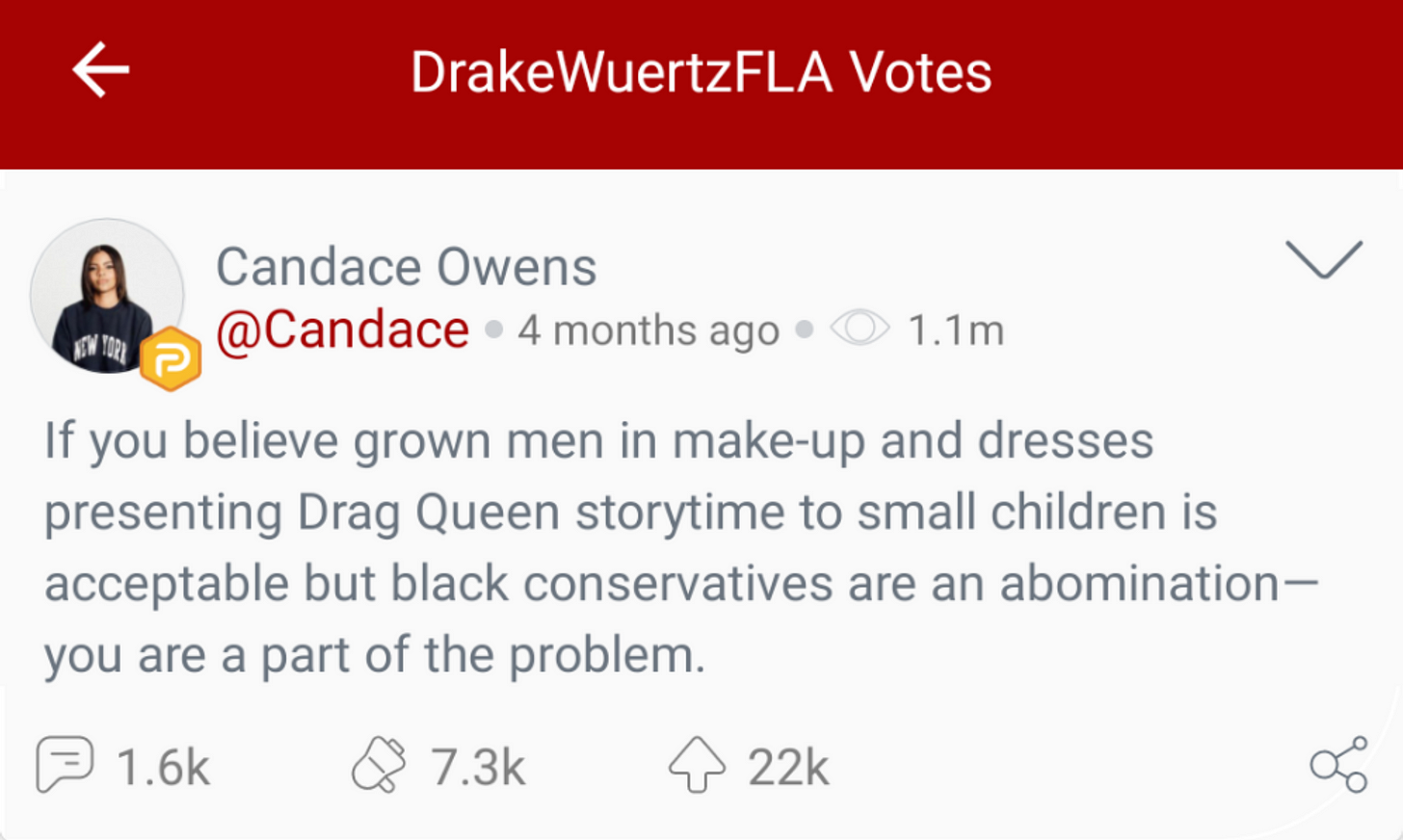 "@DrakeWuertzFLA ""votes"" a Candace Owens post about ""Drag Queet Story Time"" on Parler. (Image: Parler screenshot.)"