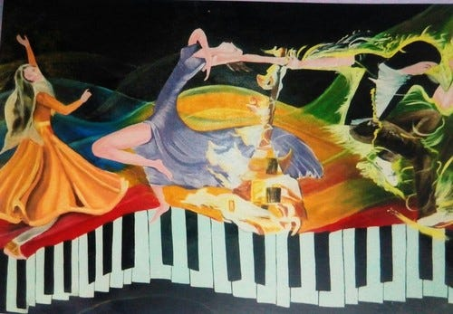 dance,Music,Passion,Passion of dance with music,ART_1454_12036,Artist : Sudha  Sharma,Oil