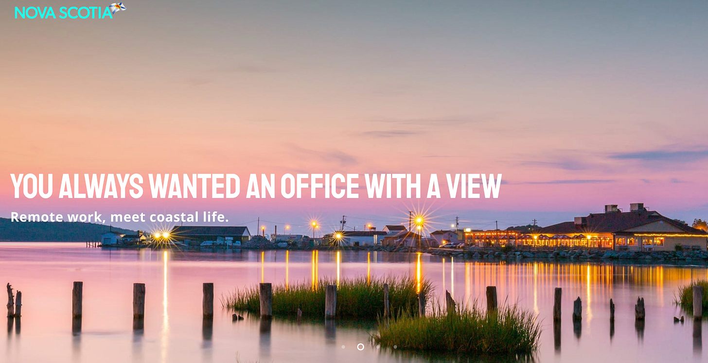 """hero image that says """"you always wanted an office with a view"""" against an oceanside image backdrop"""