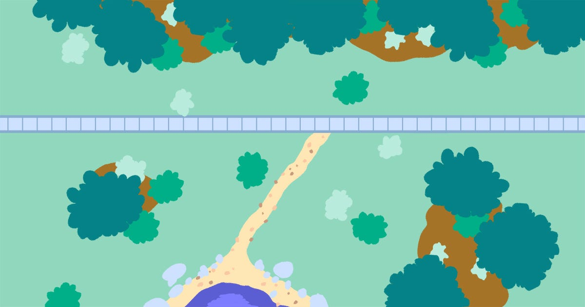 Image description: This illustration shows a dirt path from a central point of interest within a park that radiates to a formal path made by park rangers.