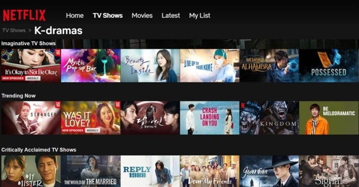 Netflix has a strategy to acquire more Korean content. Screen captured from Netflix
