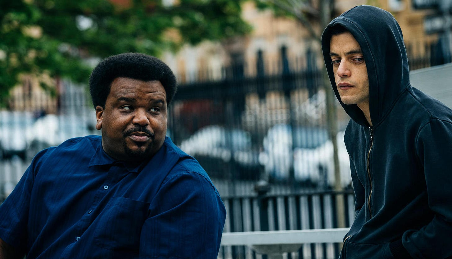 scene with ray and Elliot from Mr. Robot