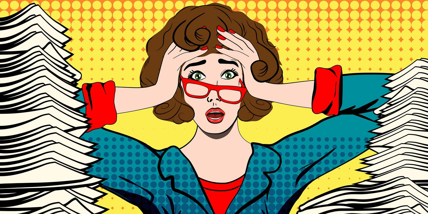 Pop art illustration of a stressed 1950s-looking businesswoman buried in paperwork, holding her head with both hands.