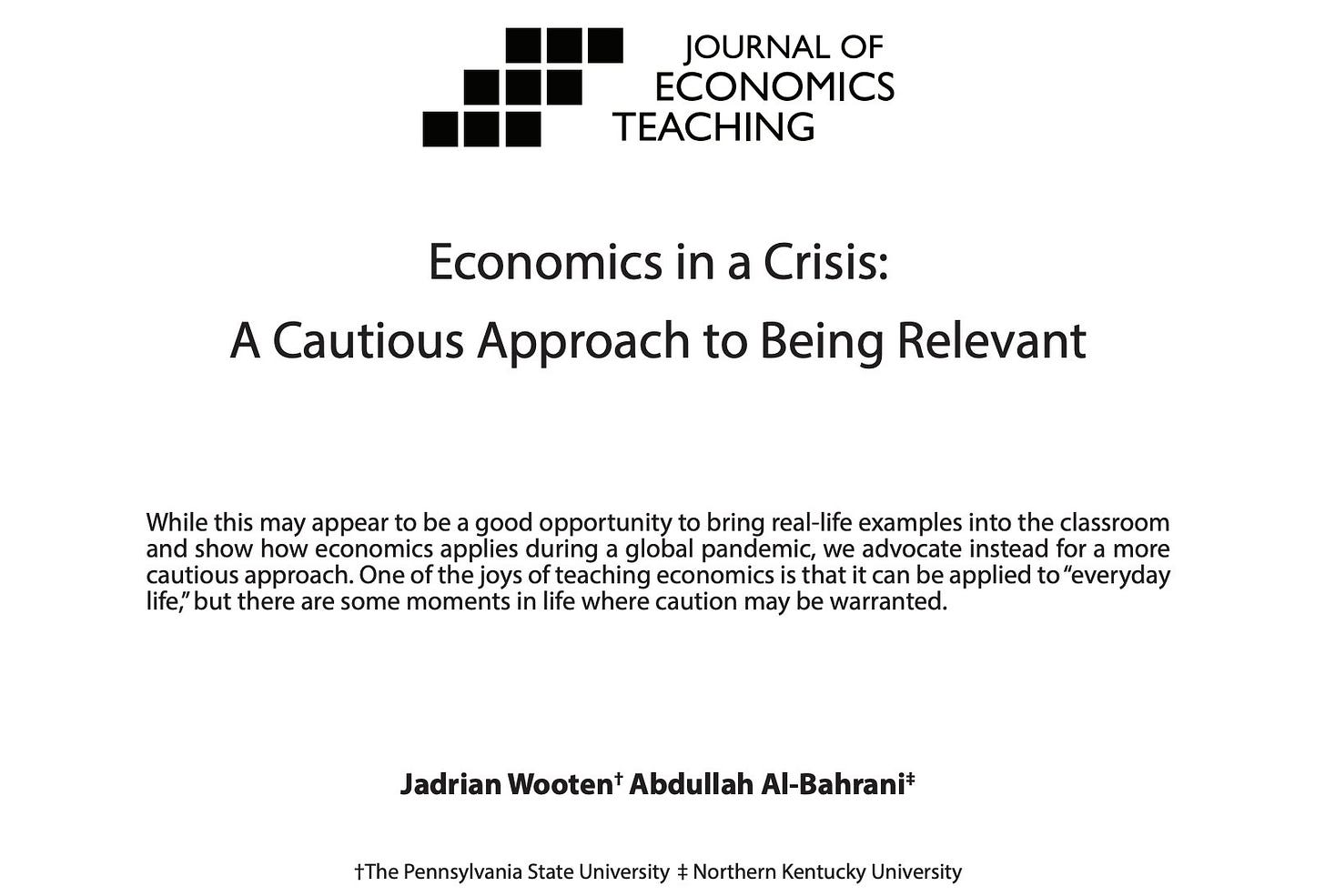"""A screenshot of a paper titled """"Economics in a Crisis: A Cautious Approach to Being Relevant"""" published in the Journal of Economics Teaching."""