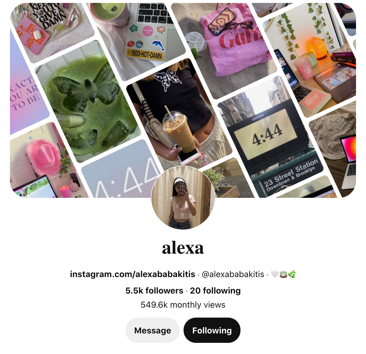 Alexa Babakitis' Pinterest page