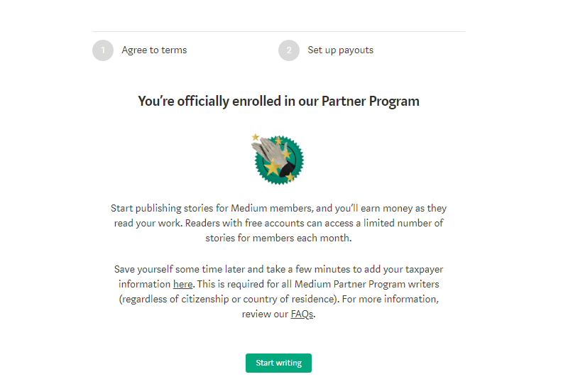 Medium prompt telling the user that they're officially enrolled in the Medium Partner program