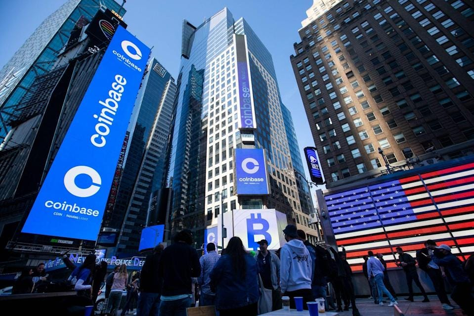 Coinbase Tumbles From Opening Price in Nasdaq Debut