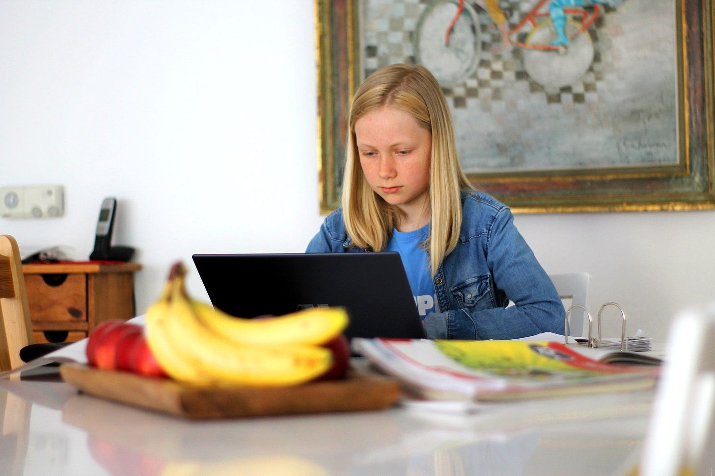 A young girl during homeschooling