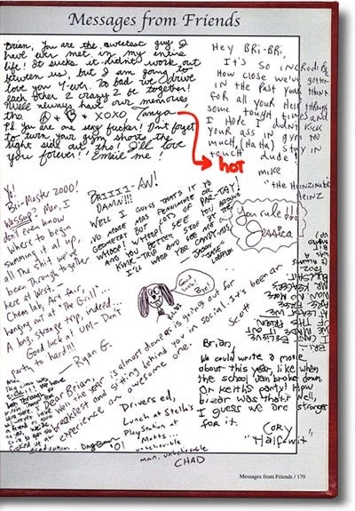 Messages from friends in senior's high-school yearbook.