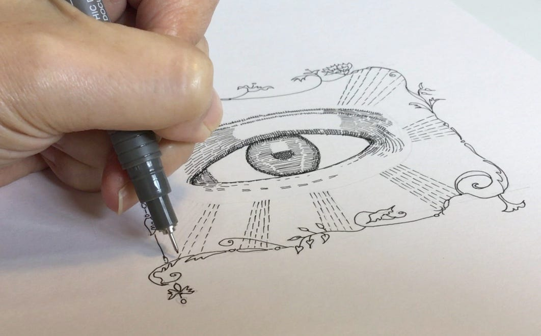 """Close up of my hand drawing the artwork """"Precious In His Eyes"""""""