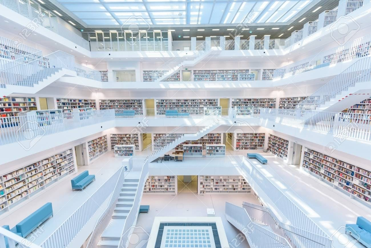 Modern Public City Library - STUTTGART, GERMANY - White Interior.. Stock  Photo, Picture And Royalty Free Image. Image 101635827.