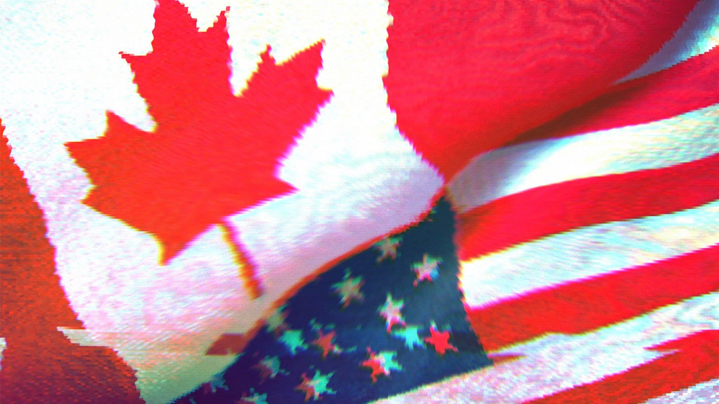 American and Canadian flags next to each other