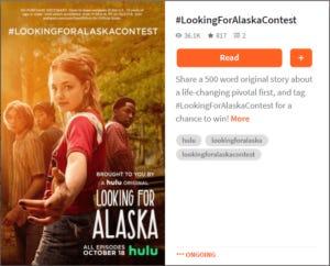 A screenshot of Wattpad's content partnership for Hulu's Alaska TV show