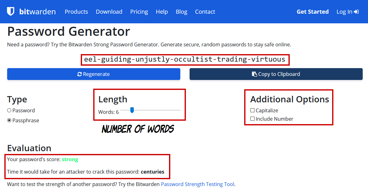 Bitwarden - Passphrase generator