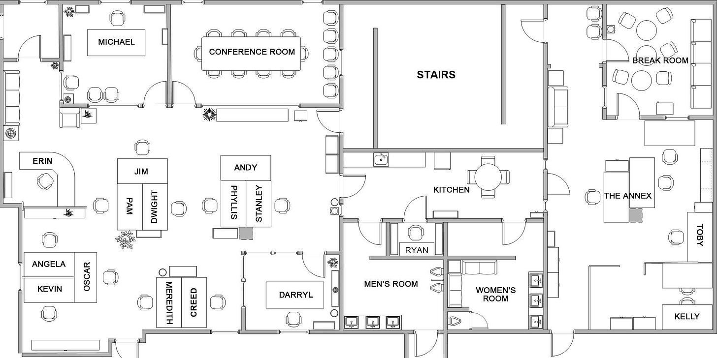Dunder Mifflin Scranton   Office floor plan, Office floor, Office layout