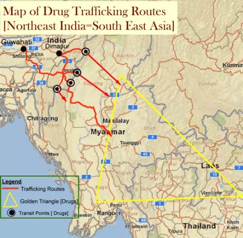 Map of Drug Trafficking Routes
