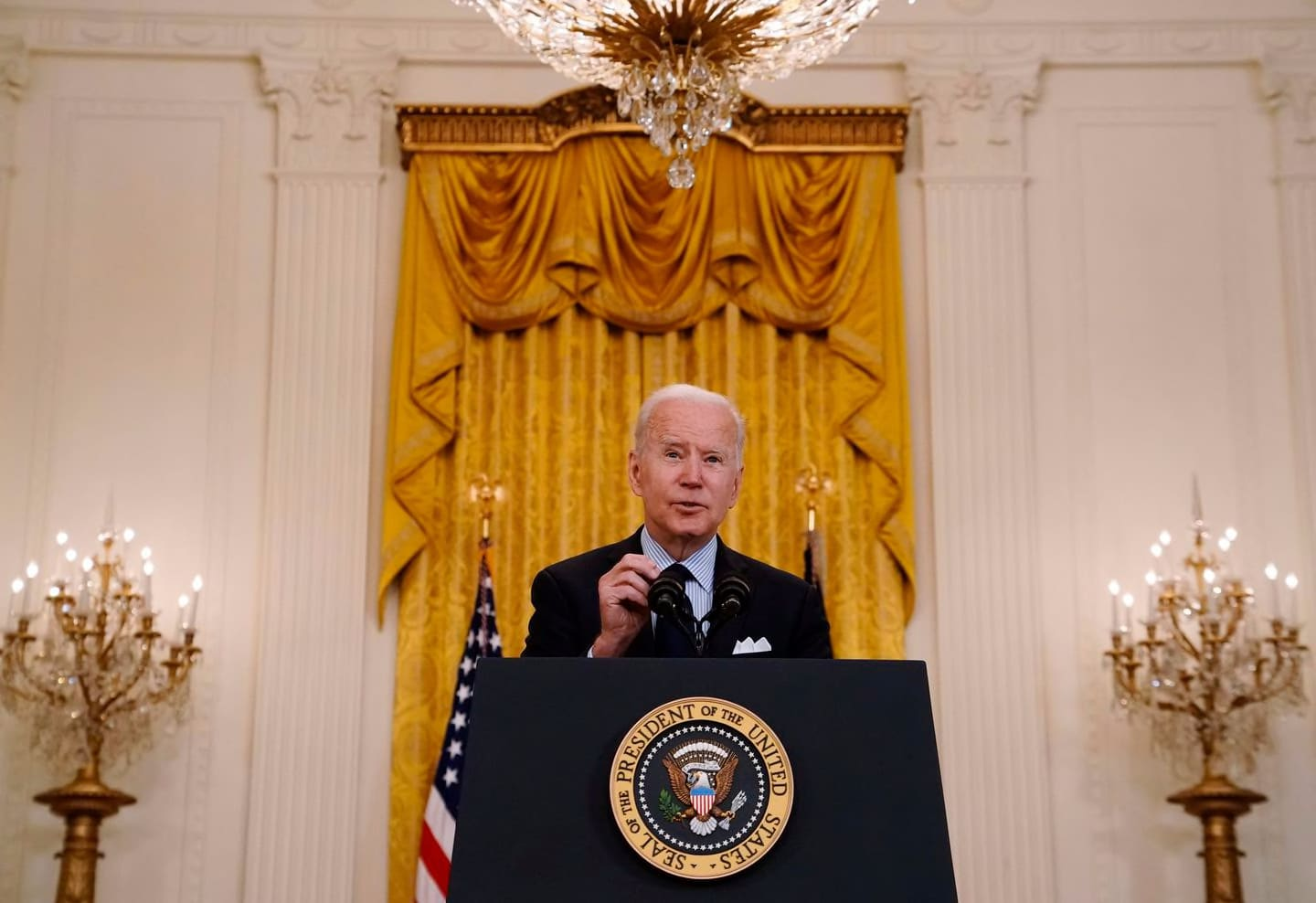 President Joe Biden speaks about the April jobs report, at the White House in Washington on May 7, 2021.