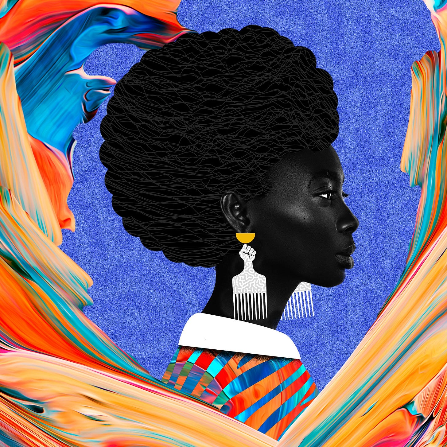 Photo of Black woman with afro and unity fist pick comb earrings against colorful background.