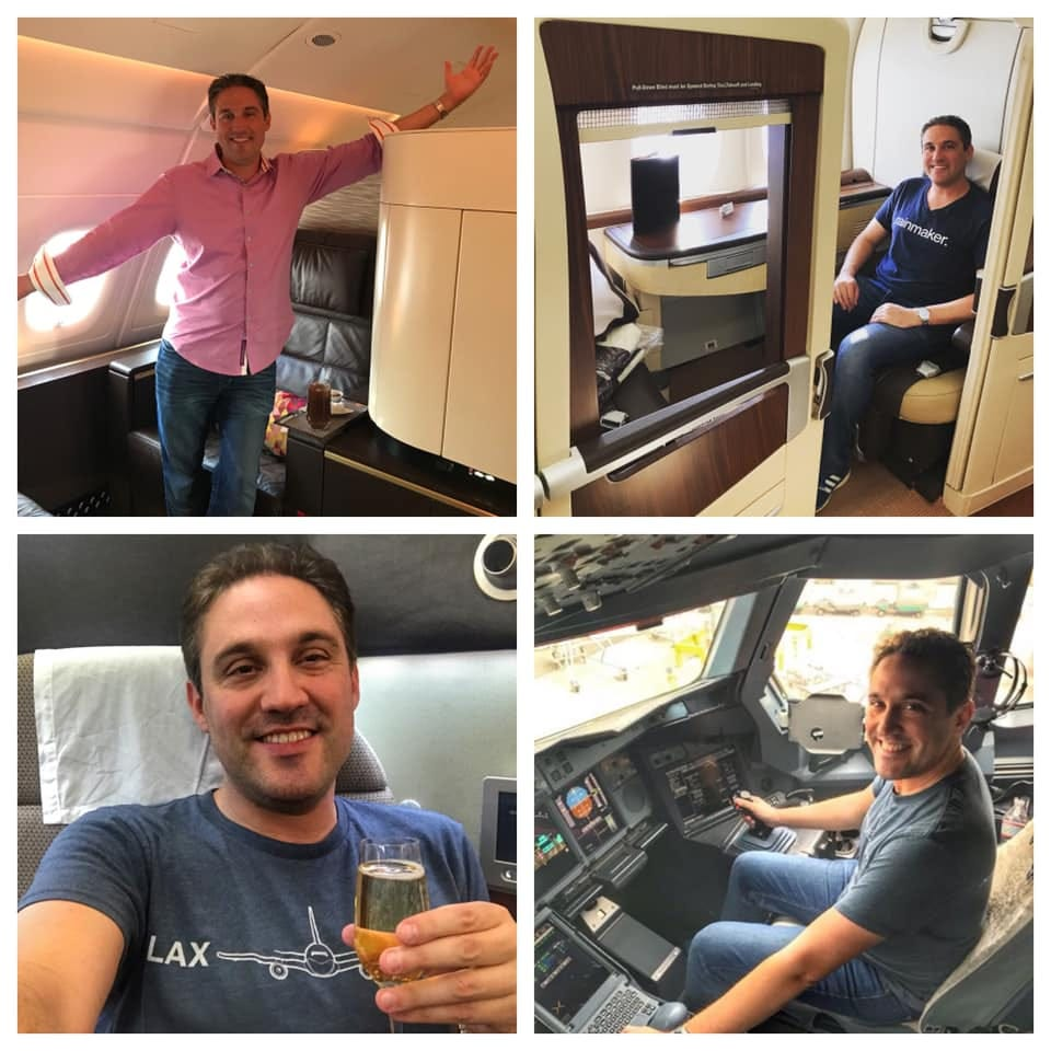 Dave in first class on many flights