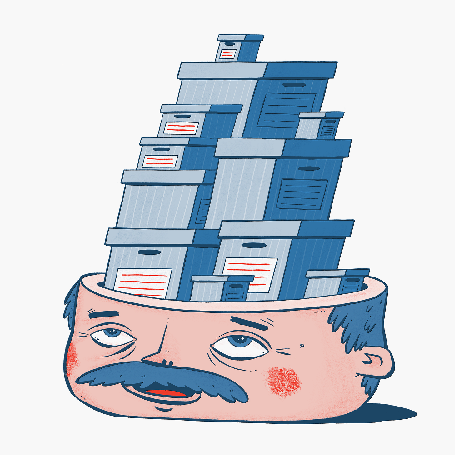 A man looks up at his head, which is open, and there are a pile of well organised boxes where his brain should be.